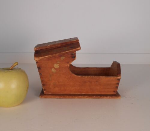 Antique Miniature Hooded Cradle Hand Decorated c: 1900 Plymouth MA  Pine AAFA