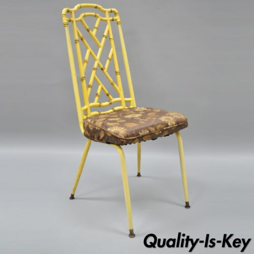 Yellow Hollywood Regency Metal Faux Bamboo Dining Chair Vtg Chinese Chippendale