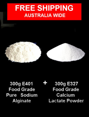 300g  CALCIUM LACTATE E327 +  300g  PURE SODIUM ALGINATE E401