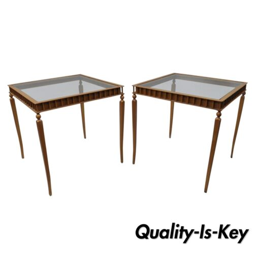 Pair of Gold Neoclassical Hollywood Regency Style Side End Tables Metal & Glass