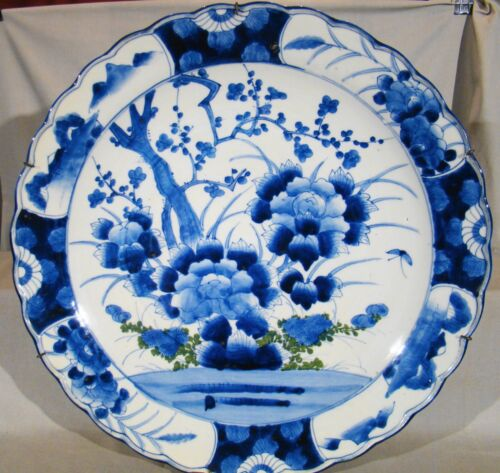 "Huge Antique Imari Porcelain Sometsuke 18 1/2"" Bowl Charger mid 19th c"