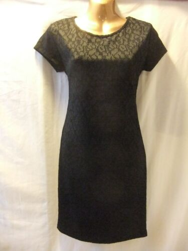LADIES NWT Damned Deluxe 14 BLACK STRETCH LACE/CAP SLEEVE MID LENGTH FROCK