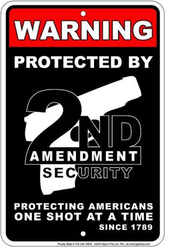 Warning- PROTECTED by the SECOND AMENDMENT  -   8x12 metal sign -