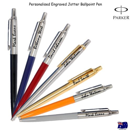 Personalised Engraved Genuine Parker Jotter Ballpoint Ball pen - Free Gift Box  <br/> Choose your pen Silver red blue black Orange Grey gold