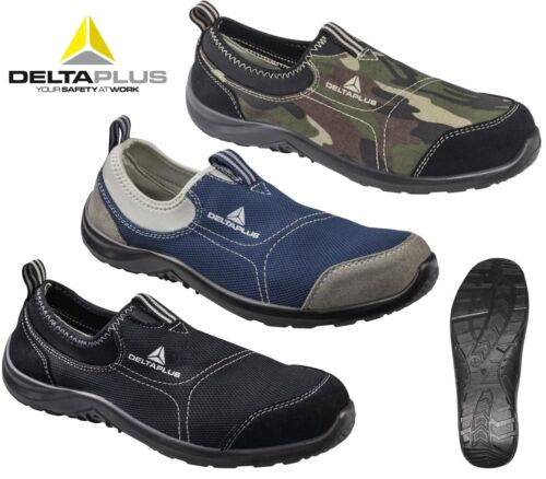 WOMENS LADIES ULTRA LIGHTWEIGHT WORK STEEL TOE CAP SAFETY SHOES TRAINERS BOOTS <br/> SLIP ON DELTA PLUS BREATHABLE LEATHER CANVAS CLOGS