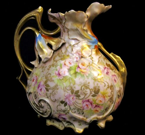 Antique Royal Vienna Germany Roses & Lily Floral Handle Gold Porcelain Pitcher