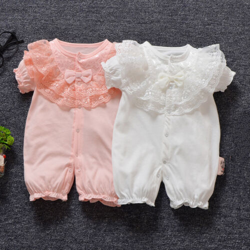 1pc Baby clothes summer girls bodysuit baby baptism cotton playsuit photo props