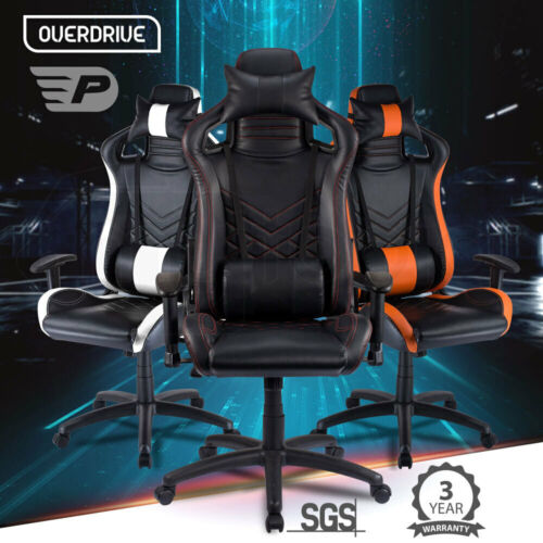 OVERDRIVE Gaming Chair - Black Office Computer Racing PU Leather Executive Race <br/> Performance Series by Overdrive | 3 Colour Options