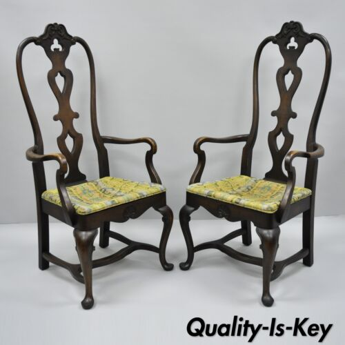 High Back Italian Baroque or Swedish Rococo Style Dining Armchairs Chairs a Pair