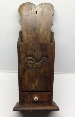 "23"" Primitive Wood Wall Hanging Folk Art Carved Candle Box or Pantry Box AAFA"