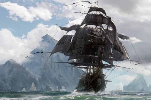 Vintage Home Wall Decor Pirate Ship Oil Painting Picture Printed On Canvas II