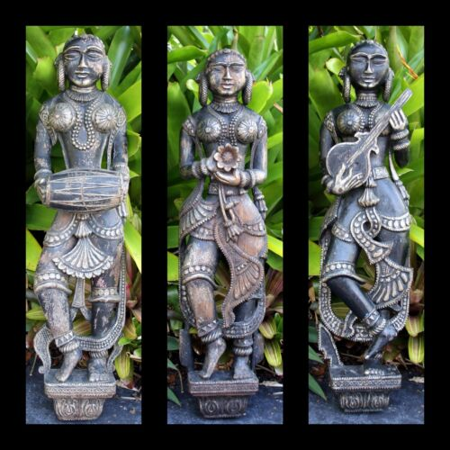 """""""Large Hand Carved Musicians & Dancer from India""""  Wall Hangings (32""""H x 7.5""""W)"""
