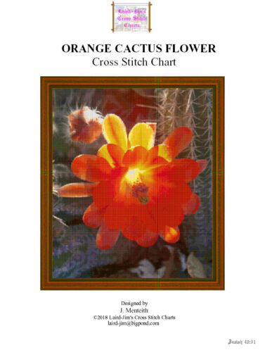 ORANGE CACTUS FLOWER - cross stitch chart - PDF file