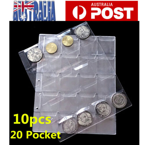 10pcs 20 Pockets Coin Holders Folder Pages Collection Album Storage Book Sleeve