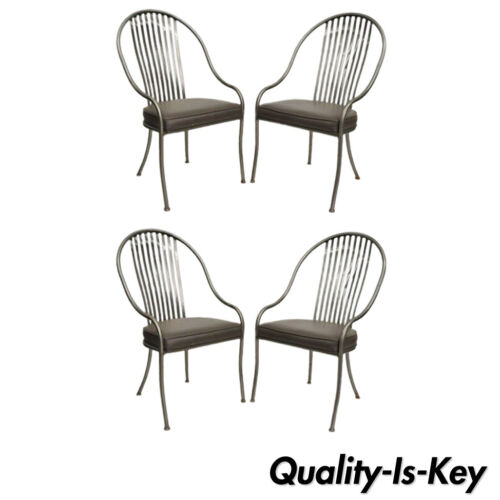 4 Shaver Howard Brushed Steel Metal Mid Century Modern Design Dining Chairs