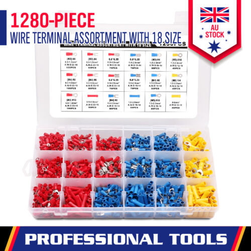 1280-Piece Electrical Wire Connector Assorted Insulated Crimp Terminal Spade Set