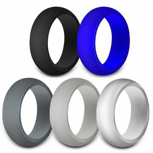 Rubber Silicone Wedding Ring Band Sport Outdoor Flexible Men Women Gifts