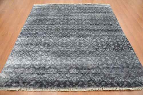 India 240x300 8x10 Hand Knotted Contemporary Bamboo Silk Carpet Rug Teppich Hali