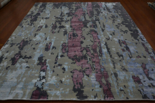 India 240x300 8x10 Hand Knotted Indo Tibet Nepalese Wool Bamboo Silk Carpet Rug