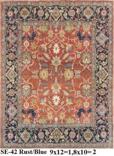 India Hand Knotted 9x12 270x365 Serapi Persian Oriental Wool Carpet Area Rug