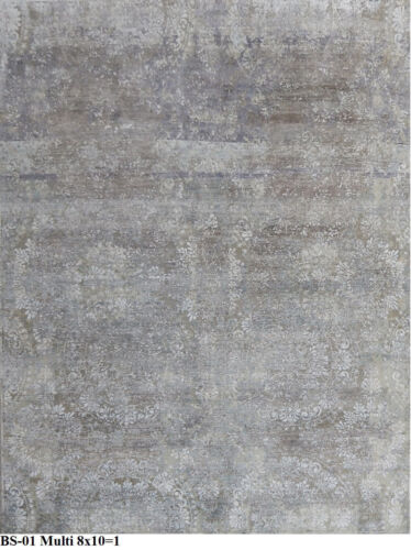 Indian 240x300 8x10 Hand Knotted Oxidized High Low Wool Bamboo Silk Carpet Rug