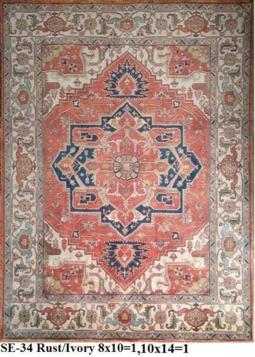 Indian Hand Knotted 10x14 300x430 Serapi Persian Oriental Wool Carpet Area Rug