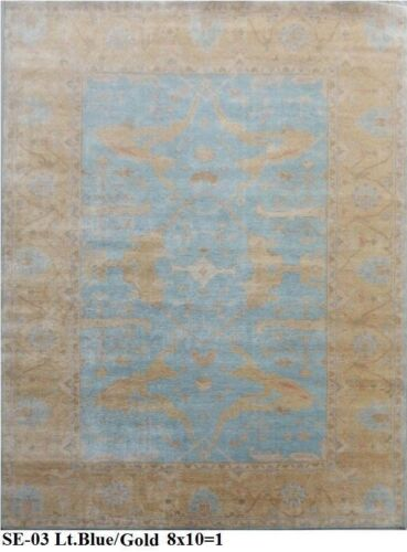 India Hand Knotted 8x10 240x300 Oushak Persian Oriental Wool Carpet Area Rug