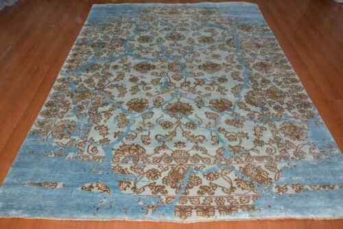 India 270x365 9x12 Hand Knotted Contemporary Bamboo Silk Carpet Rug Teppich