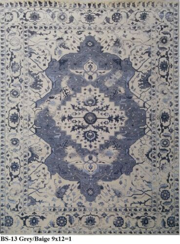India 270x365 9x12 Hand Knotted Contemporary Wool Bamboo Silk Carpet Rug Teppich