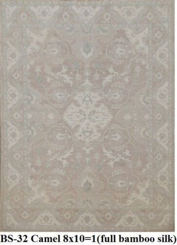 India 240x300 8x10 Hand Knotted Contemporary Bamboo Silk Carpet Area Rug Teppich