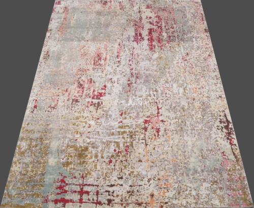 India 270x360 9x12 Hand Knotted Contemporary Wool Bamboo Art Silk Carpet Rug