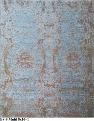 India 240x300 8x10 Hand Knotted Contemporary Wool Bamboo Silk Carpet Rug Teppich