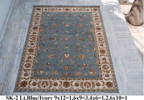 India 270x360 9x12 Hand Knotted Soft Wool Viscose Art Silk Carpet Area Rug