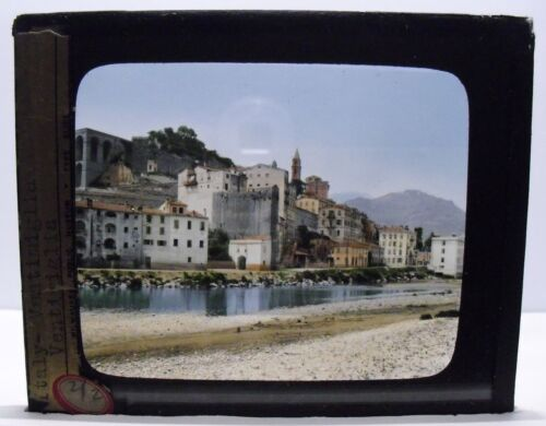 ITALY- VENTIMIGLIA vintage color Magic Lantern Glass Slide