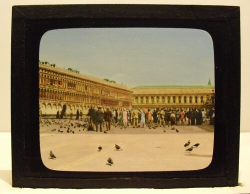 ITALY- VENICE, ST. MARK'S SQUARE vintage color Magic Lantern Glass Slide
