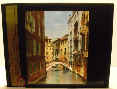 ITALY- CANAL IN VENICE vintage color Magic Lantern Glass Slide