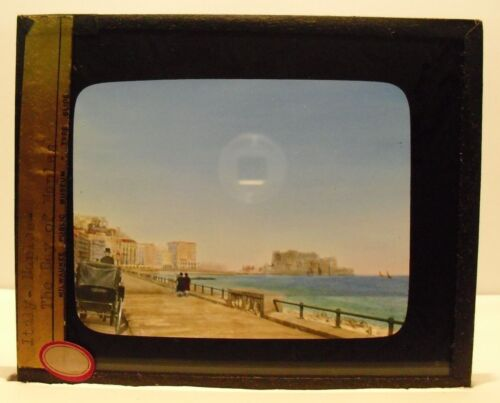 ITALY- BAY OF NAPLES vintage color Magic Lantern Glass Slide