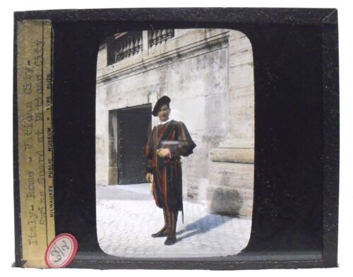 ITALY - ROME, VATICAN CITY, Swiss Guard, vintage color Magic Lantern Glass Slide
