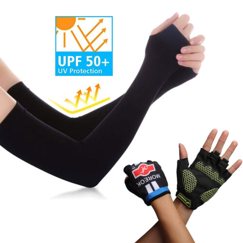 Men's SPF 50+ Super Long Anti-UV Sun Protection Arm Sleeve + Gloves For Cycling