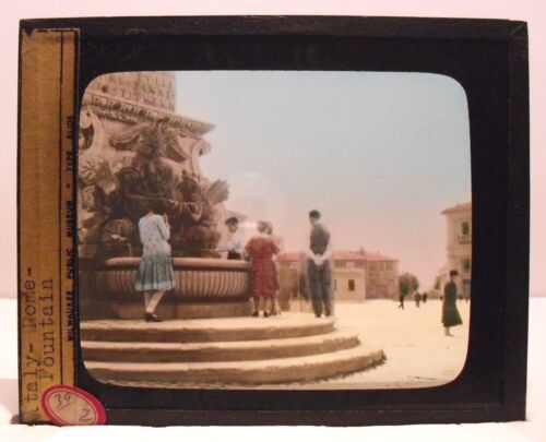 ITALY - ROME - FOUNTAIN vintage color Magic Lantern Glass Slide