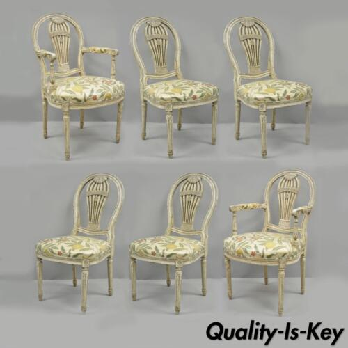 Louis XVI French Style Hot Air Balloon Back Montgolfier Dining Chair Set of 6