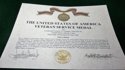 THE VETERAN SERVICE MEDAL CERTIFICATE Army Navy Air Force Marines Coast Guard Medals, Pins & Ribbons - 104024