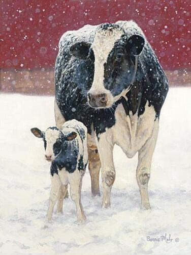 First Christmas by Bonnie Mohr Cow and a Calf poster Print 12x16