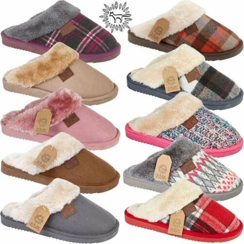 Ladies Slippers Tartan Faux Suede Sheepskin Fur Warm Comfort Winter Mules Shoes