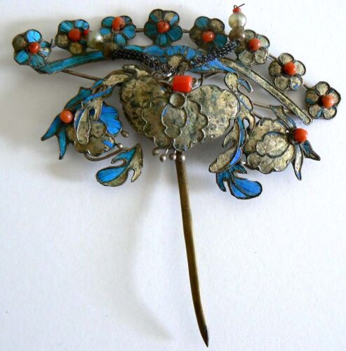 EXTRA LARGE Qing Dynasty Kingfisher feather Hair Pin Antique VINTAGE Chinese 點翠