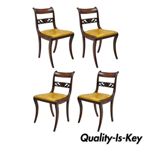 4 Mahogany Carved Plume & Acanthus Regency Style Saber Leg Dining Side Chairs