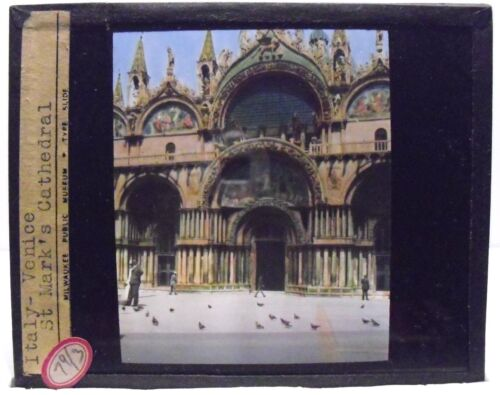 ITALY- VENICE - ST. MARK'S CATHEDRAL vintage color Magic Lantern Glass Slide
