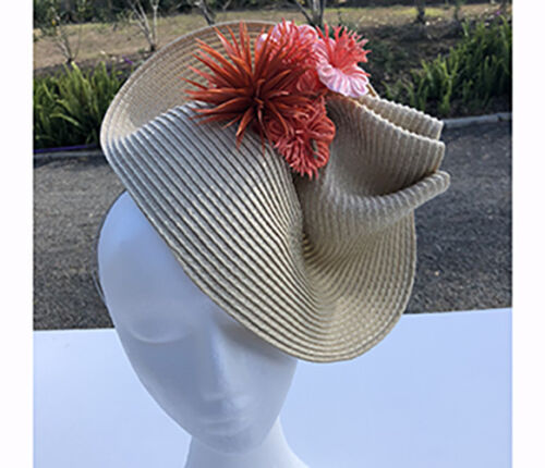 Beige High Twisted Fascinator with Orange Flowers - Made in Aus - A0057