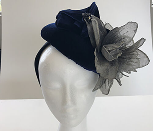 Royal Blue Velvet Fascinator with Black/Grey Flowers - Made in AUS - A0087