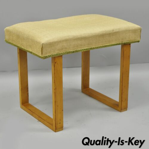 Vtg Mid Century Modern Maple Blonde Wood Vanity Bench Stool Gilbert Rhode Style